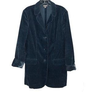 JJill Blue Corduroy Velvet Cuff Blazer Jacket Sm
